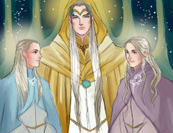 Jukka Raak - Galadhon and his sons, Celeborn and Galathil.jpg