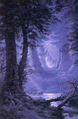 Ted Nasmith - By Moonlight in Neldoreth Forest.jpg